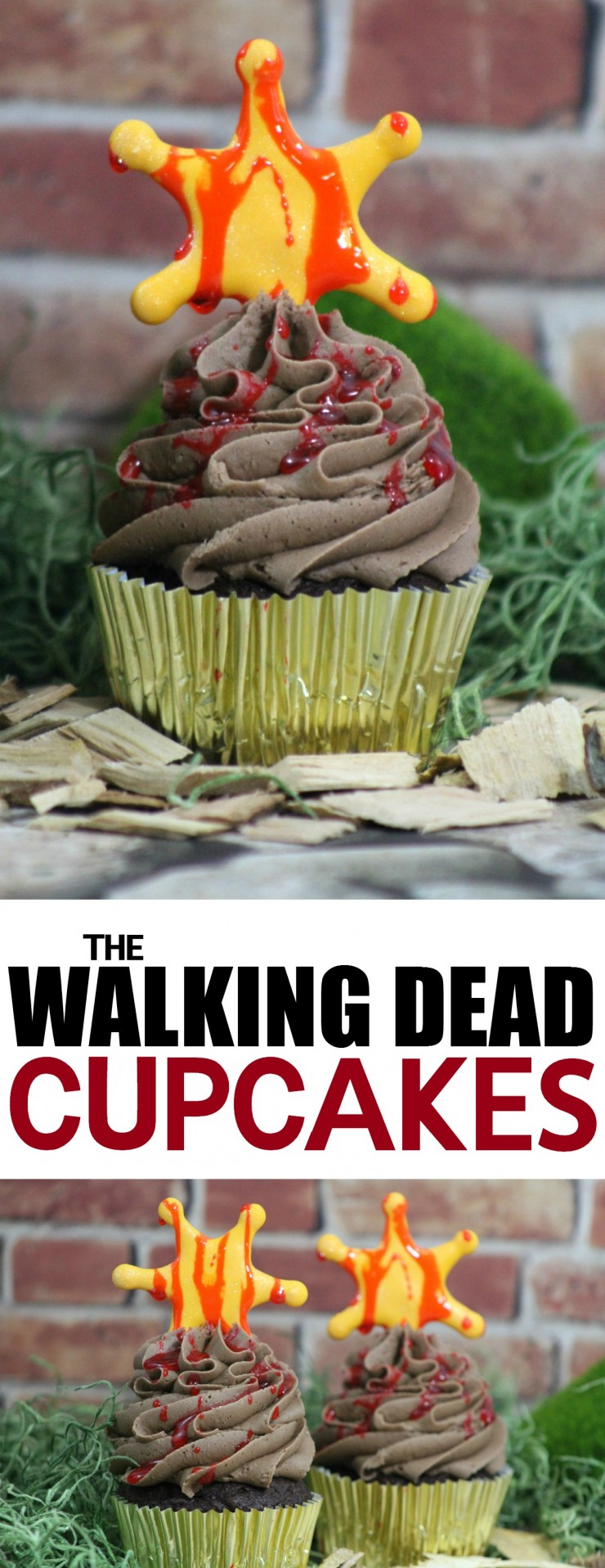 For fans of AMC's The Walking Dead these The Walking Dead Cupcakes are a great way to celebrate the upcoming season featuring Rick Grime's Sheriff Badge.