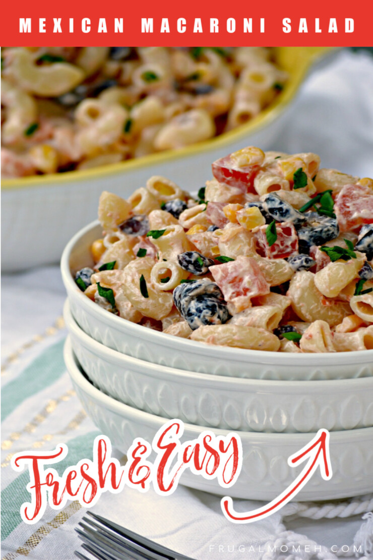 This Mexican Macaroni Salad recipe is a very versatile summer salad perfect for picnics and barbecues as as a tasty side dish.