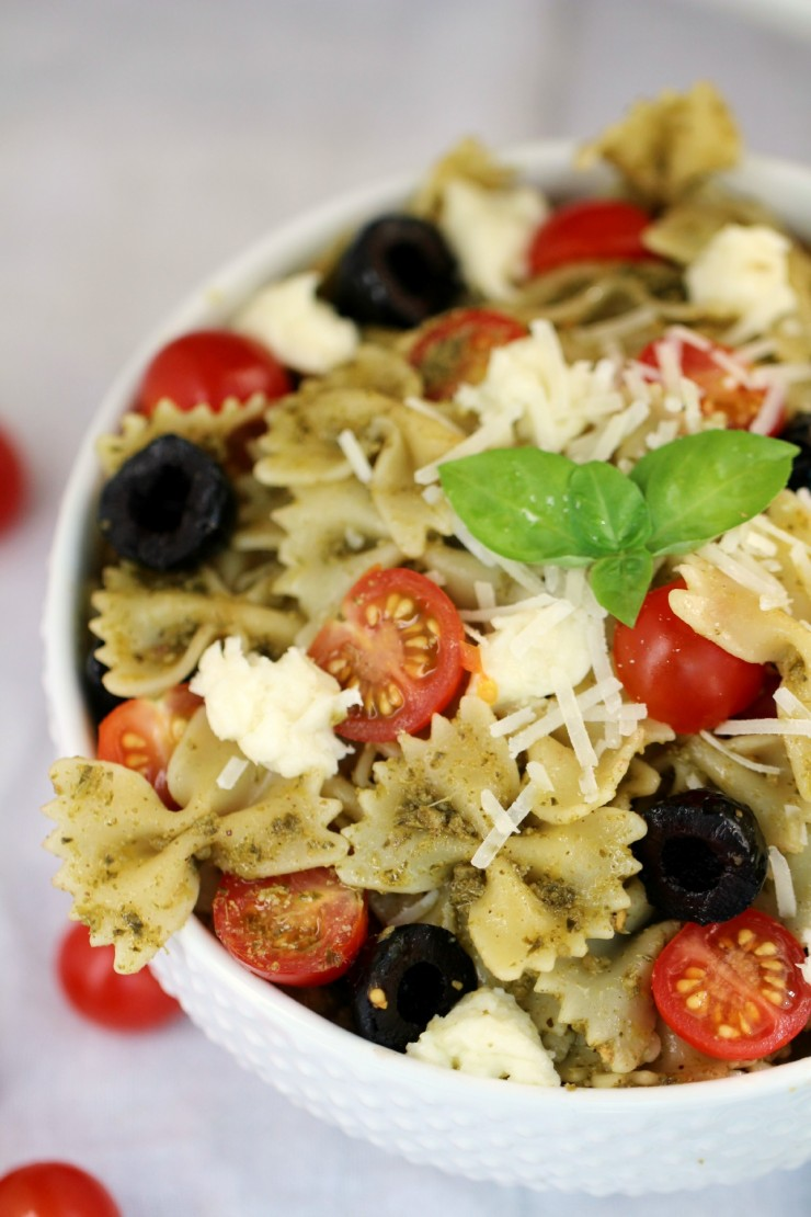 This Pesto Pasta Salad Recipe features bow tie pasta and fresh ingredients for a summer salad or side dish that is full of flavour!