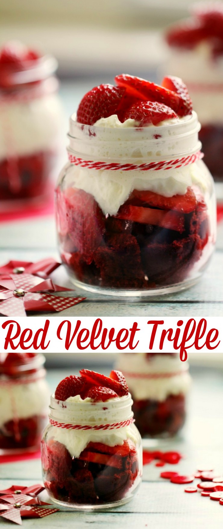 This Red Velvet Trifle is a super easy dessert recipe perfect for dinner parties, picnics and just because. A great way to celebrate Canada Day Too!