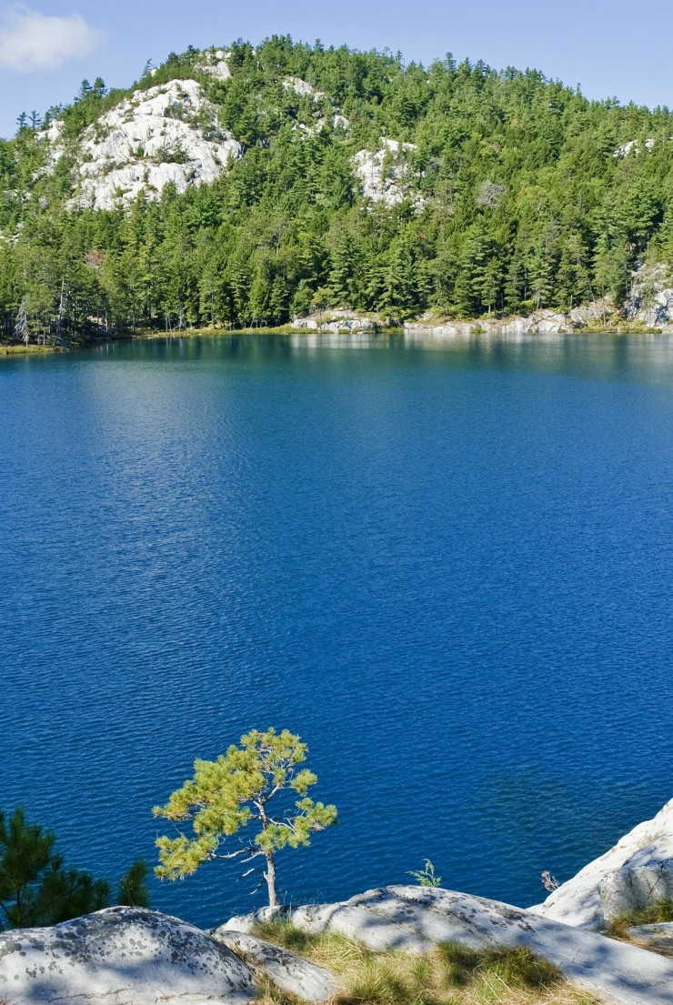 Topaz Lake in Killarney Provincial Park in Ontario with a view of La Cloche Mountains