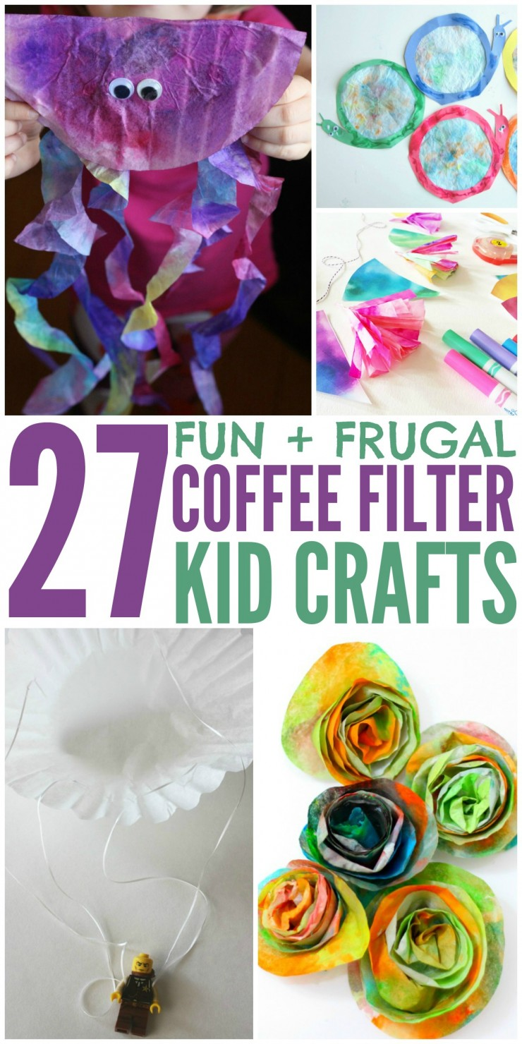 27 Coffee Filter Crafts for Kids that are frugal and fun.  Who knew coffee filters could provide opportunity for so many kids activities!