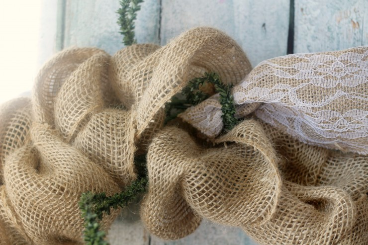 This Burlap & Lace Wreath is a super easy DIY project and is the perfect addition to shabby chic decor.