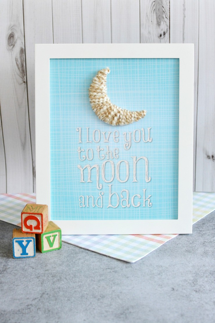 """Love You to the Moon"" Nursery Decor Craft with Free Printable comes in both pink and blue for a baby girl or a baby boy!"