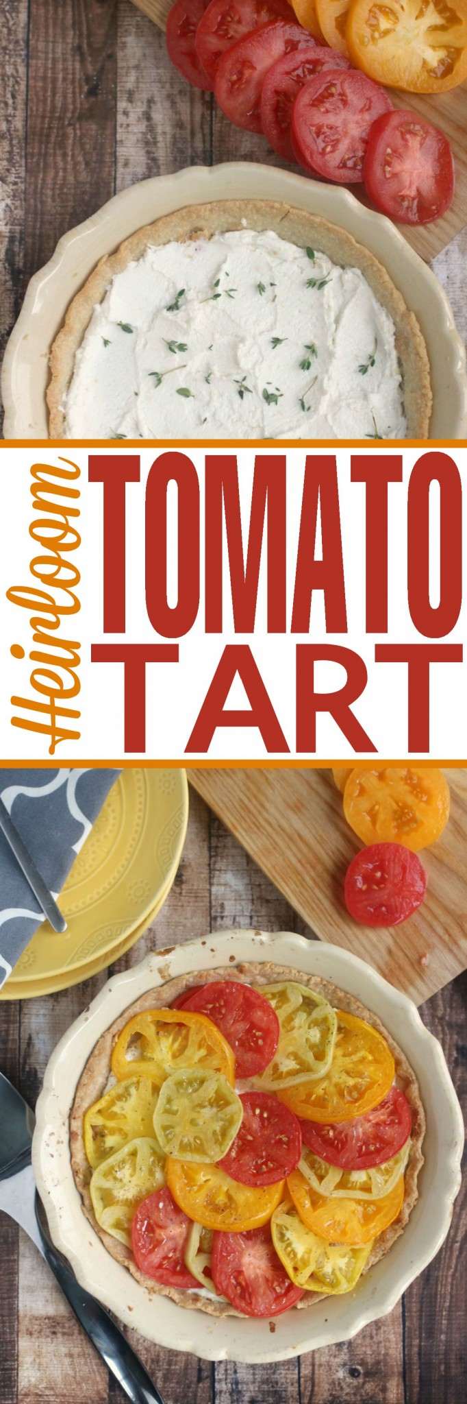 This Heirloom Tomato Tart really highlights the beauty and flavour of garden fresh heirloom tomatoes.  This is a summer recipe that is sure to be a hit!