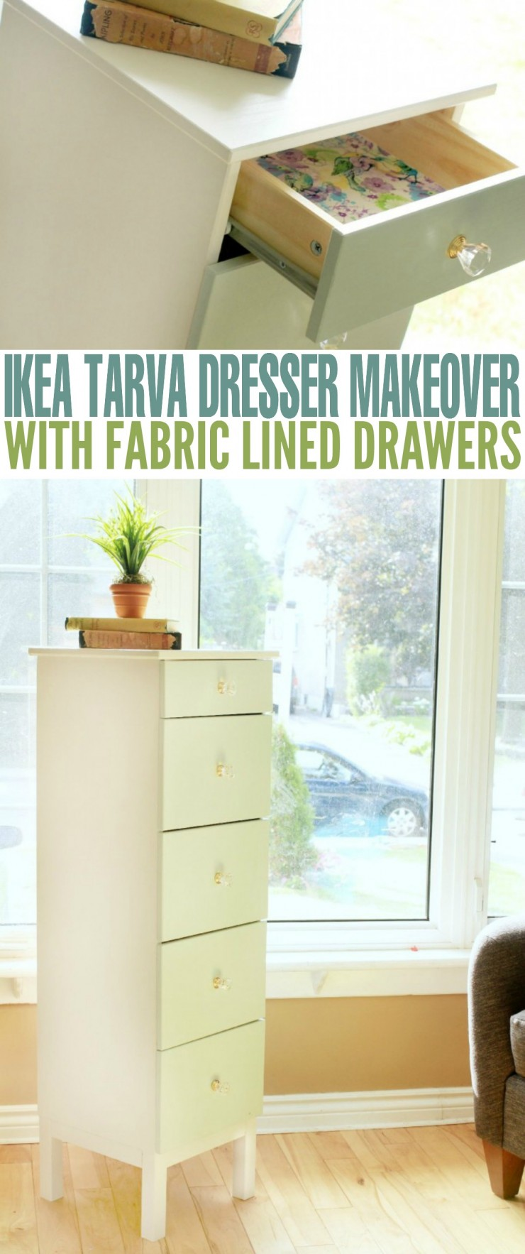 This Ikea Tarva Dresser Makeover with Fabric Lined Drawers is a fairly easy DIY furniture makeover project that results in a gorgeous one of a kind piece!