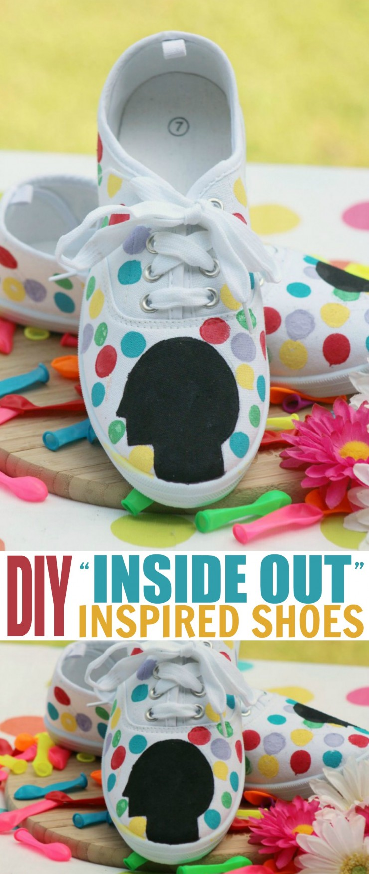 "These DIY Disney • Pixar's ""Inside Out"" Inspired Shoes are deceptively easy to recreate and a fun craft for fans of the movie."