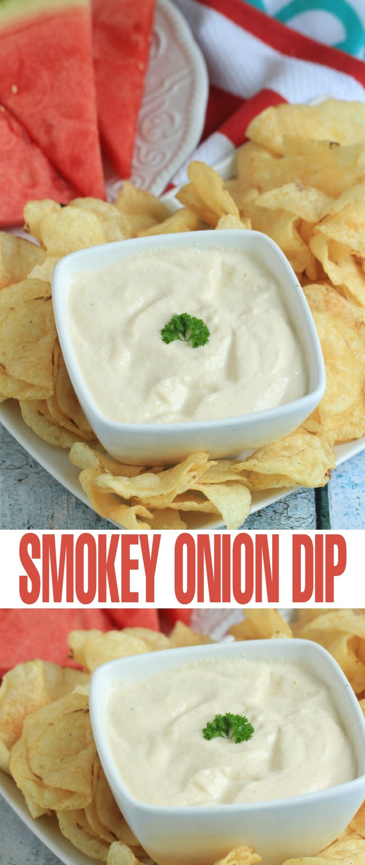 Pair this Smokey Onion Dip with chips or veggies as a perfect appetizer for your next summer barbecue!