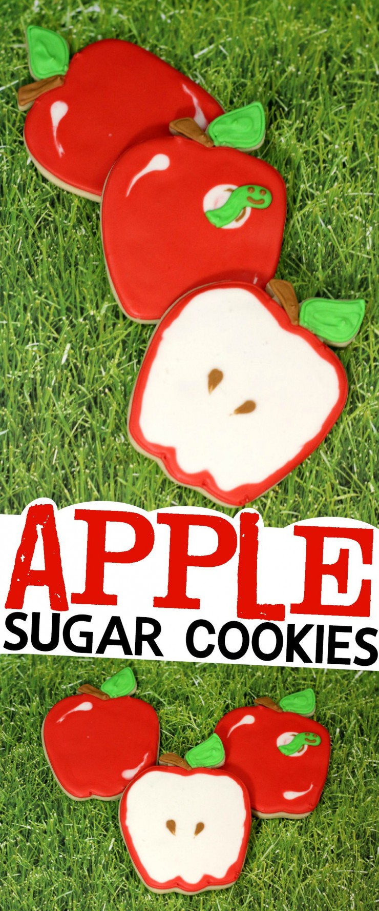 How to decorate these adorable Apple Sugar Cookies + recipe for cookies and icing!