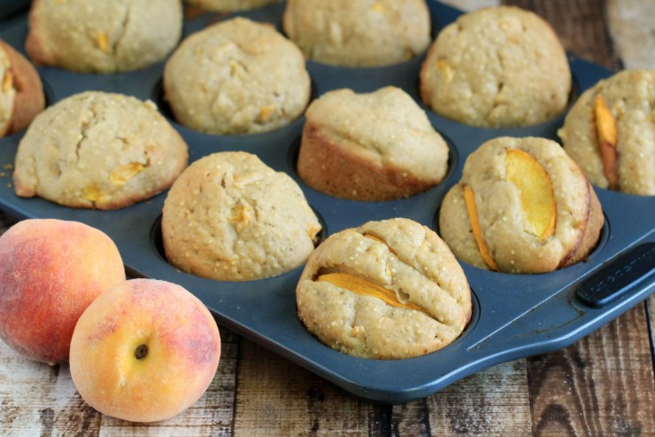 Browned Butter and Quinoa Peach Muffins are a delicious breakfast option packed with protein!