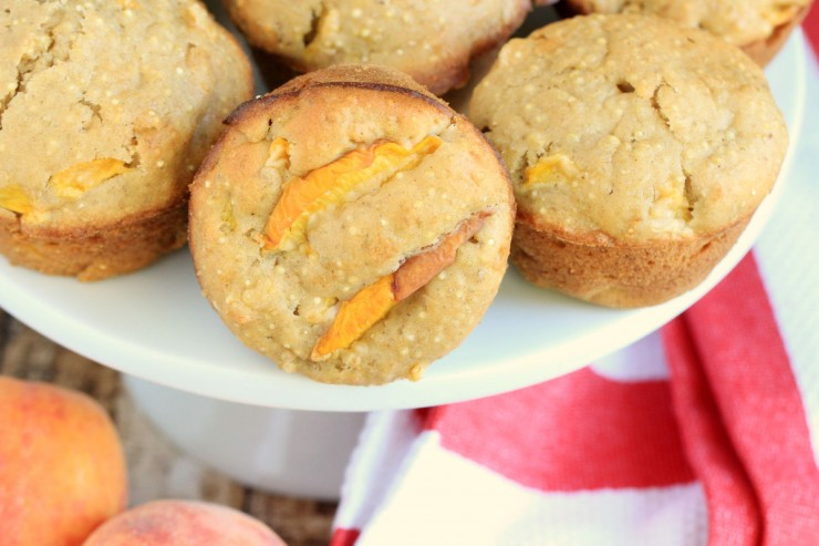 Browned Butter and Quinoa Peach Muffins