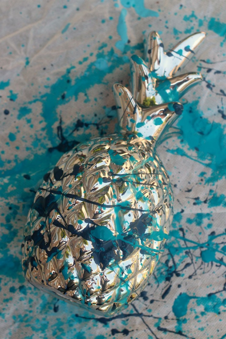 This Paint Splatter Pineapple Home Decor is a fun and easy home decor project that anyone can do!