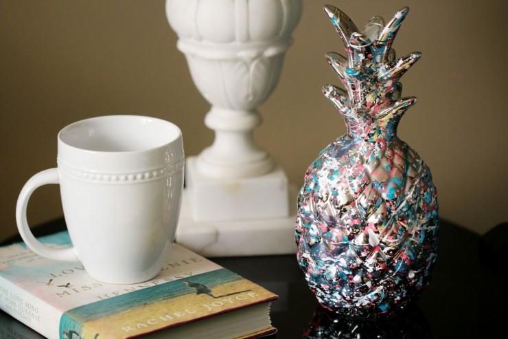 paint splatter pineapple home decor - frugal mom eh!