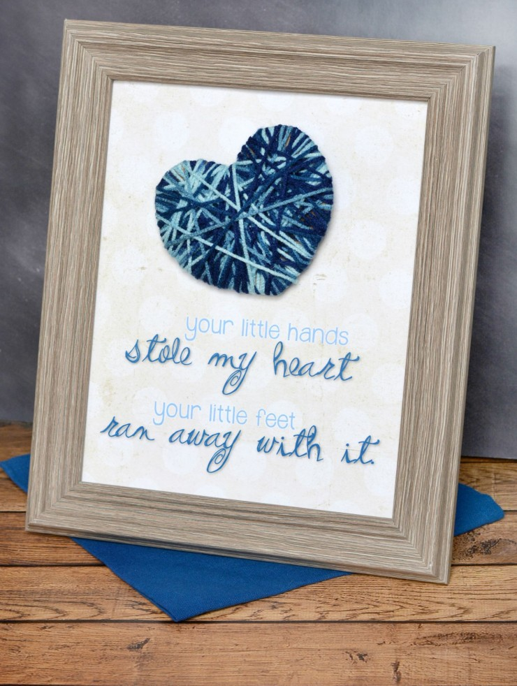 """Stole My Heart"" Yarn Nursery Decor with Free Printable for a baby girl or baby boy."