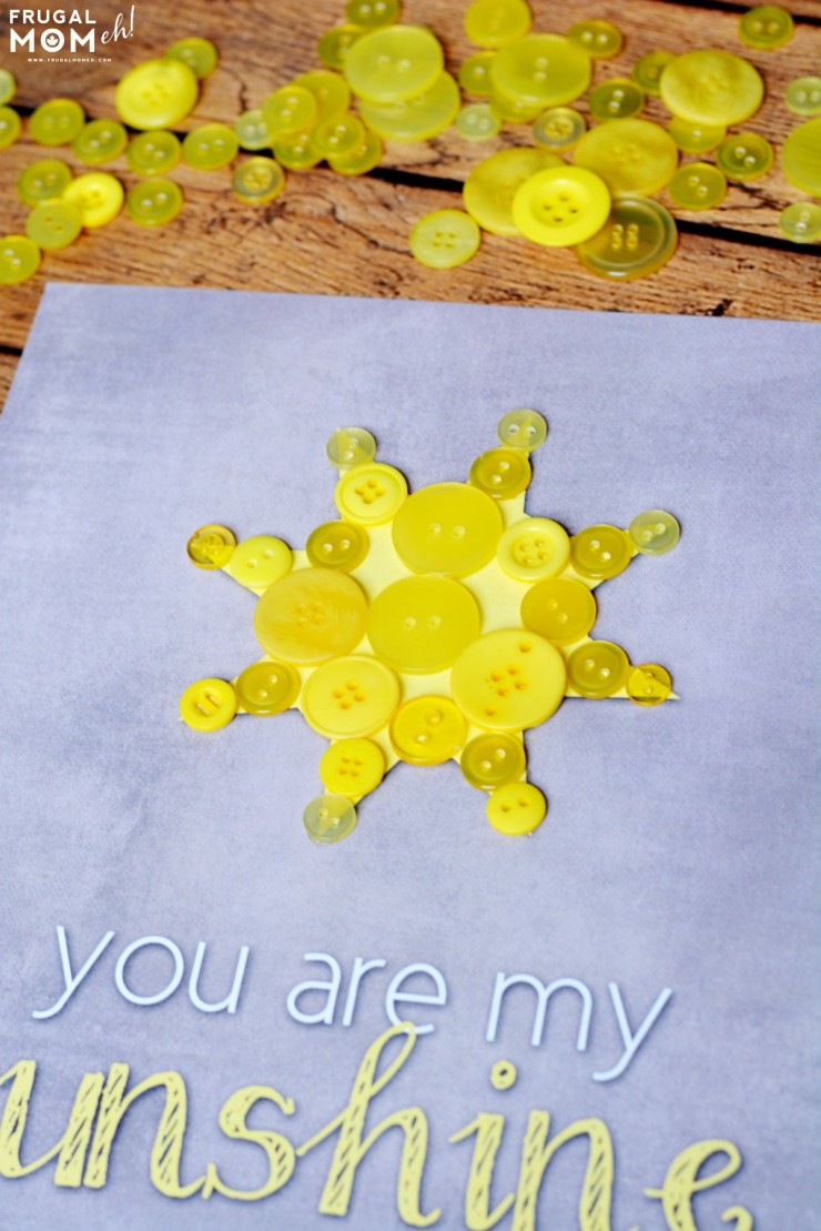 """You Are My Sunshine"" Button Nursery Art with Free Printable Template!"