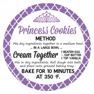 Princess Cookies in a Jar are a fun party favour for any princess themed party. Your guests will love making their own yummy cookies at home!