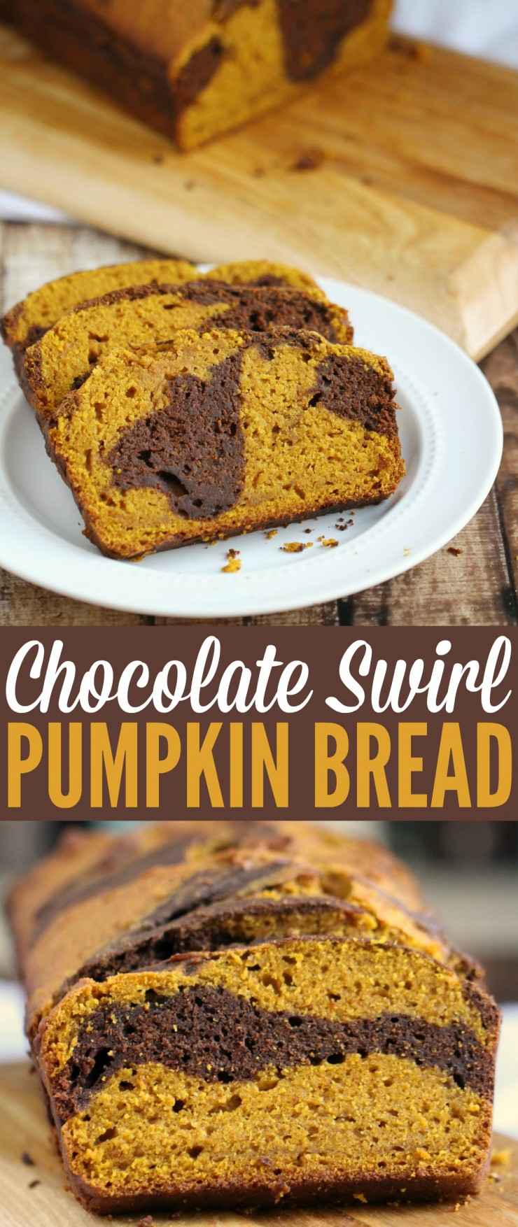 This Chocolate Swirl Pumpkin Bread is a wonderful fall dessert perfect for serving on Thanksgiving!