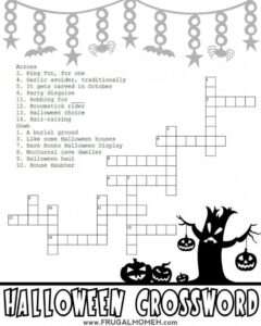 crossword - Halloween Activity Sheets