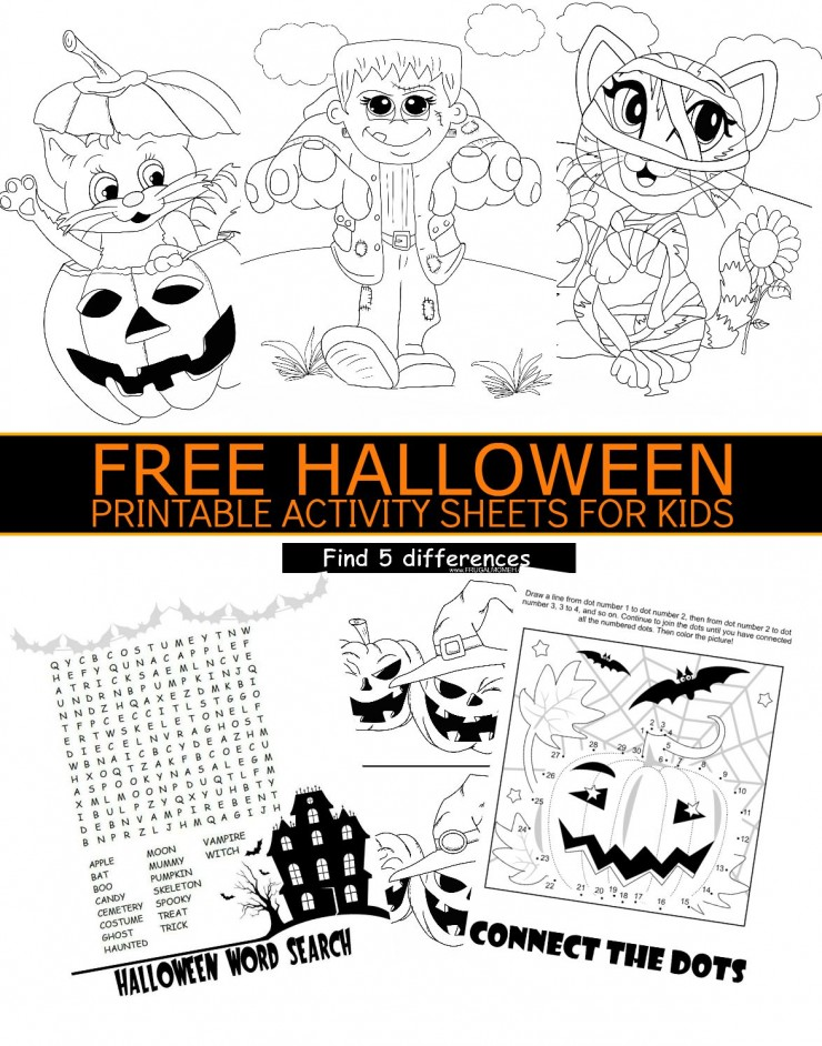 image relating to Free Halloween Printable called No cost Halloween Printable Video game Sheets for Small children - Frugal