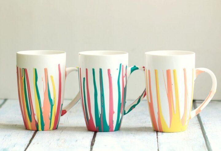 DIY Paint Drip Coffee Mugs