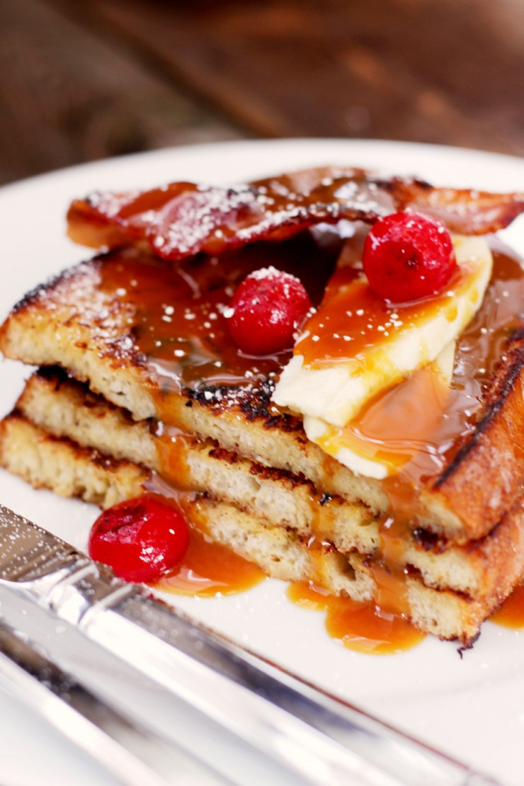 Bananas Foster French Toast with Blistered Cherries & Bacon