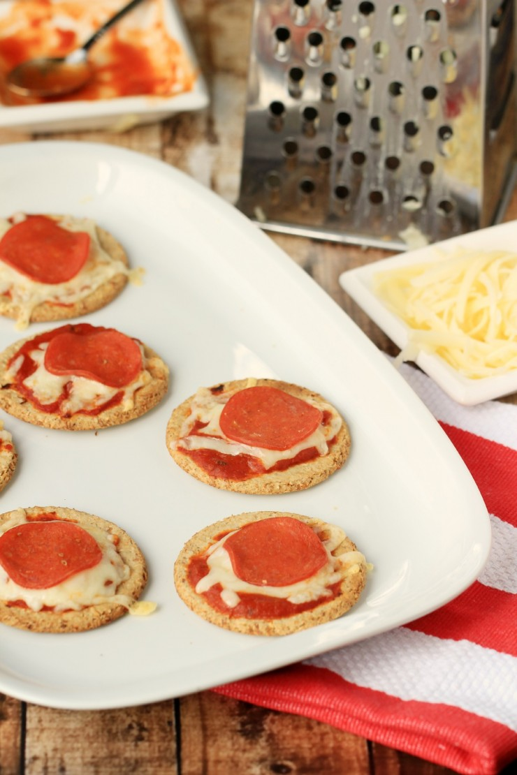 Cracker Pizzas made with Nairn's Oat Crackers are an easy after school snack!