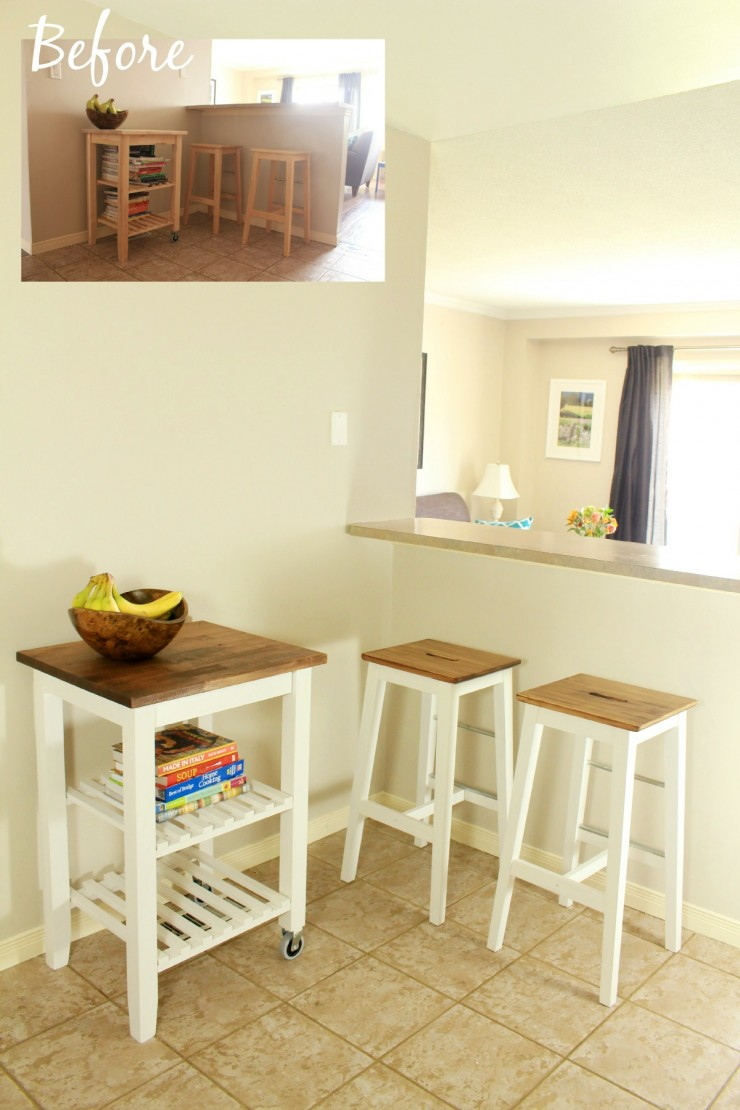 IKEA Hack: Kitchen Furniture Makeover - IKEA BOSSE stool makeover and IKEA  BEKVM Kitchen cart