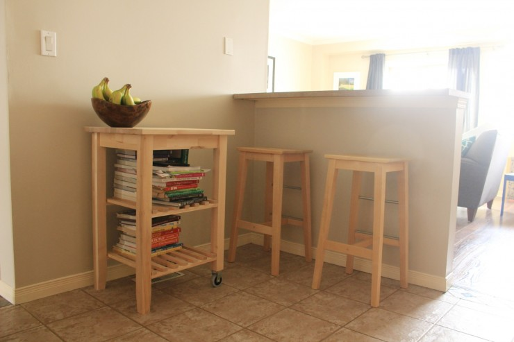 IKEA Hack: Kitchen Furniture Makeover - IKEA BOSSE stool makeover and IKEA BEKVÄM Kitchen cart makeover with BEHR paint and a little stain,