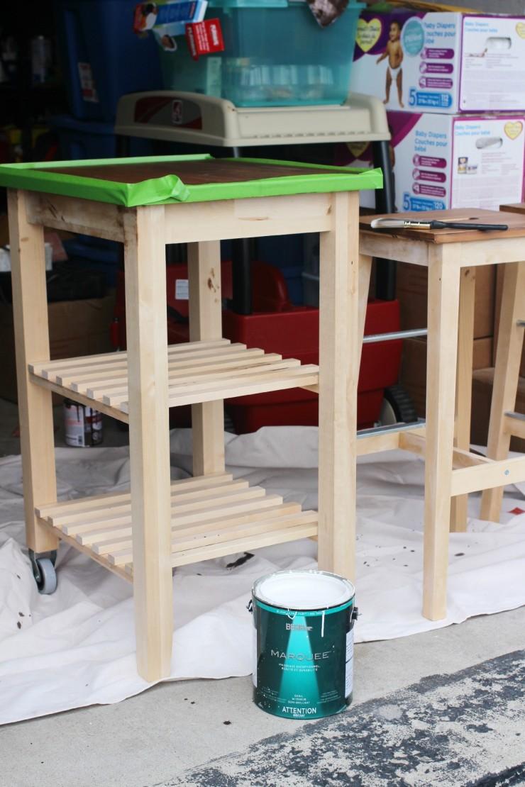 Ikea kitchen cart painted - Ikea Hack Kitchen Furniture Makeover Ikea Bosse Stool Makeover And Ikea Bekv M Kitchen Cart