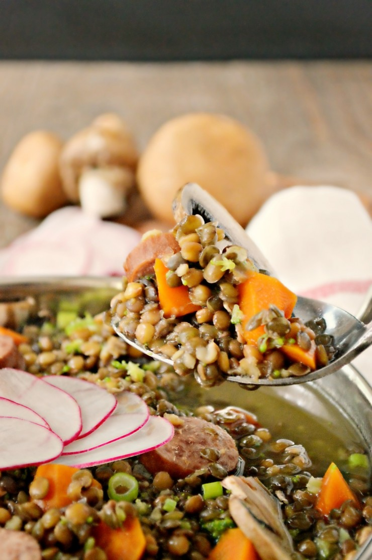 This French Lentil Stew with Sausage is a quick, easy and filling family dinner recipe.