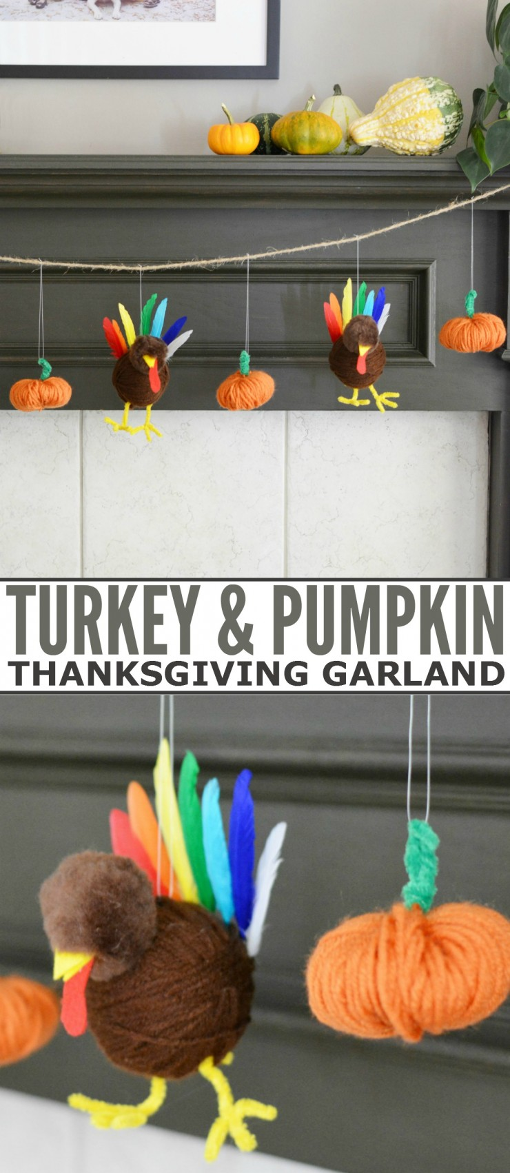 Re-purpose plastic bags to create this adorable Turkey and Pumpkin Thanksgiving Garland DIY craft project.