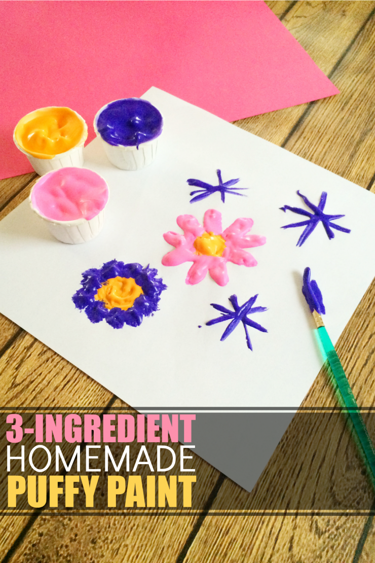 This recipe for 3-Ingredient Homemade Puffy Paint is one of those kids craft that will keep them busy creating art for hours. When it comes to activities for kids this is one kids of all ages can enjoy!