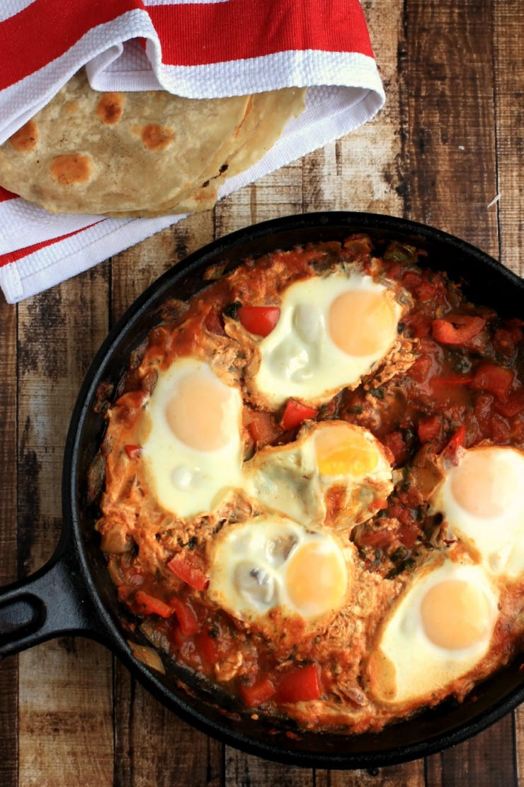 Shakshouka (Spiced North African Eggs) is a flavourful breakfast dish that is easy to prepare and healthy too!