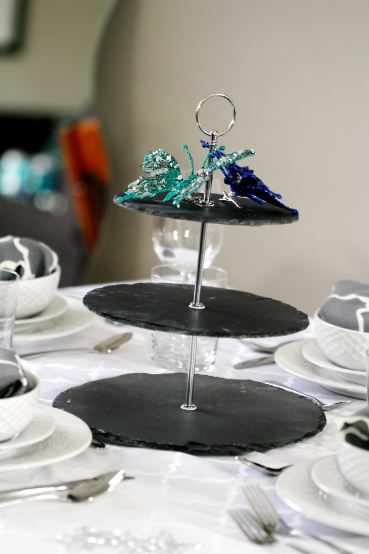Arctic Teal Christmas Decoration Ideas - 3-Tier Slate Serving Stand