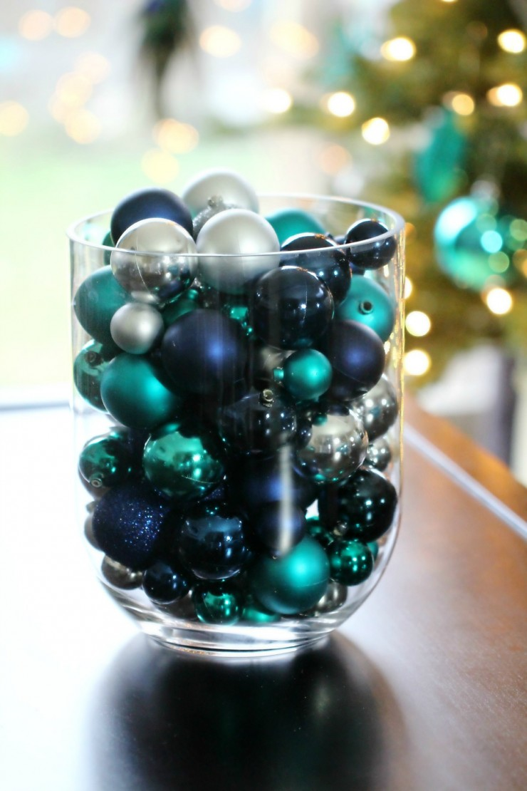 Arctic Teal Christmas Decoration Ideas - Bullet Vase Tabletop Decor filled with Teal, Blue and