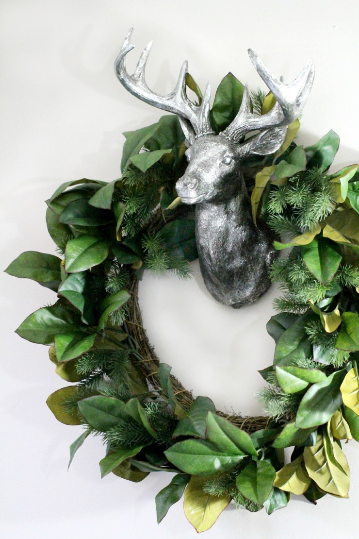 Arctic Teal Christmas Decoration Ideas - Silver Deer Head & Ivy and Pine Wreath