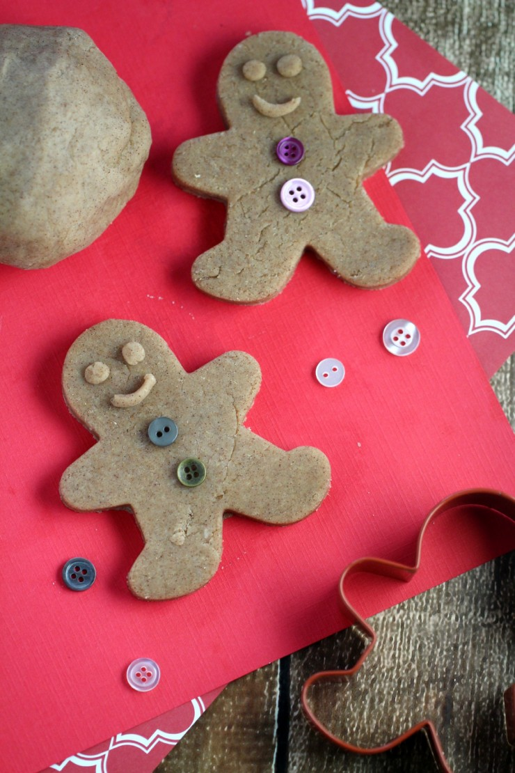 This Gingerbread Playdough recipe is not only edible, it also smells great too! Kids will love playing with this fun scented homemade playdough!
