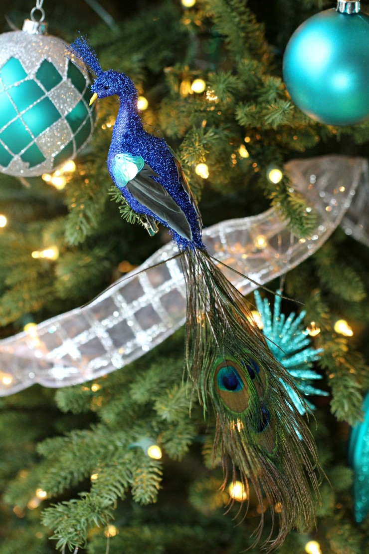 Arctic Teal Christmas Decoration Ideas - Peacock Ornament
