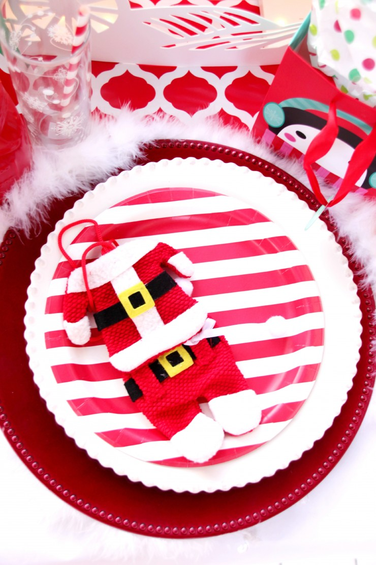Red Amp White Christmas Table Setting For Kids