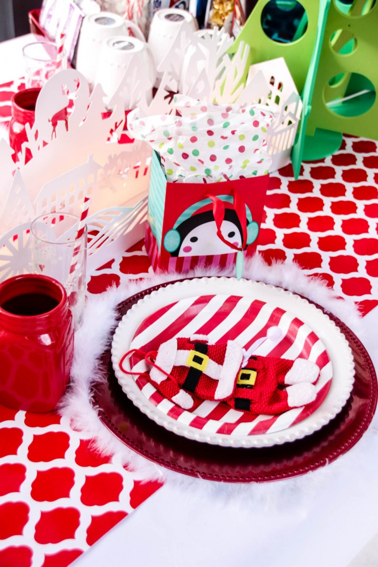 Red & White Christmas Table Setting for Kids