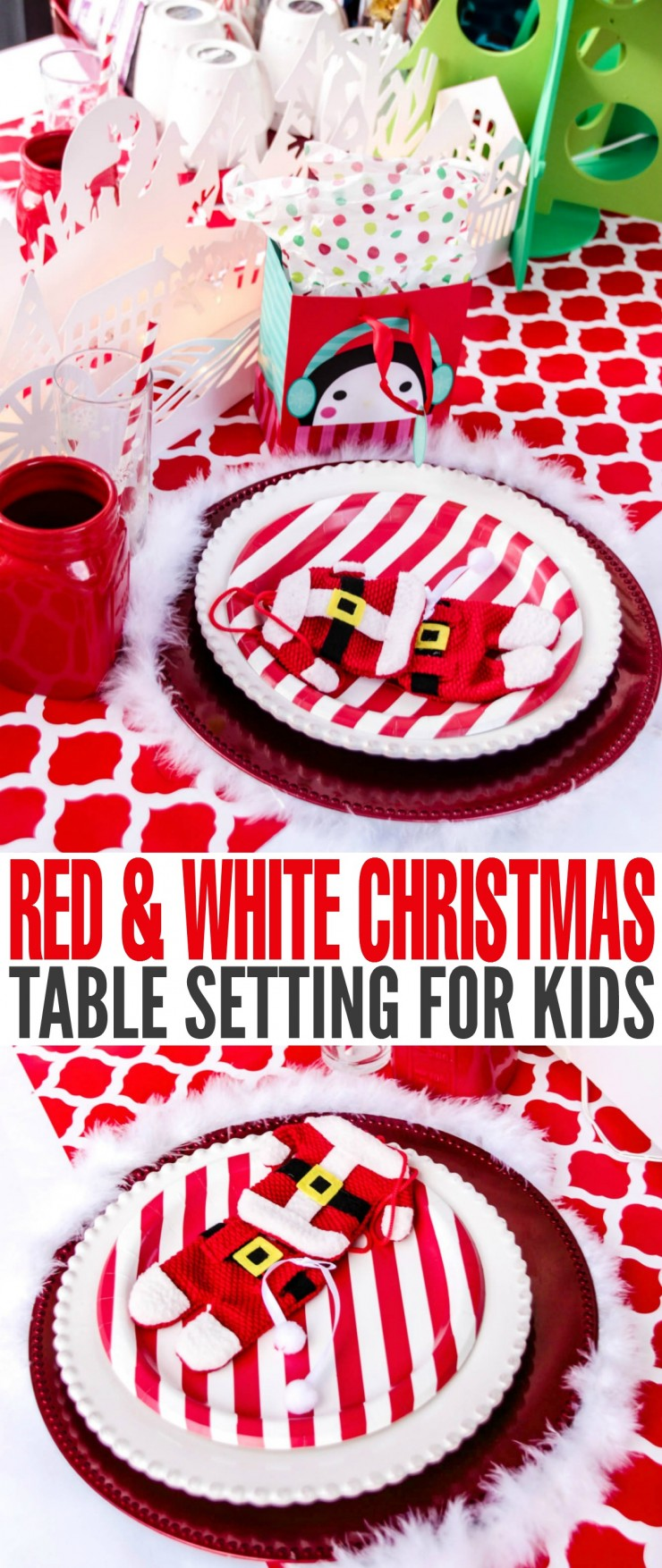 Kids want to feel included and this Christmas Table Setting is a great way to make  sc 1 st  Frugal Mom Eh! & Red \u0026 White Christmas Table Setting for Kids