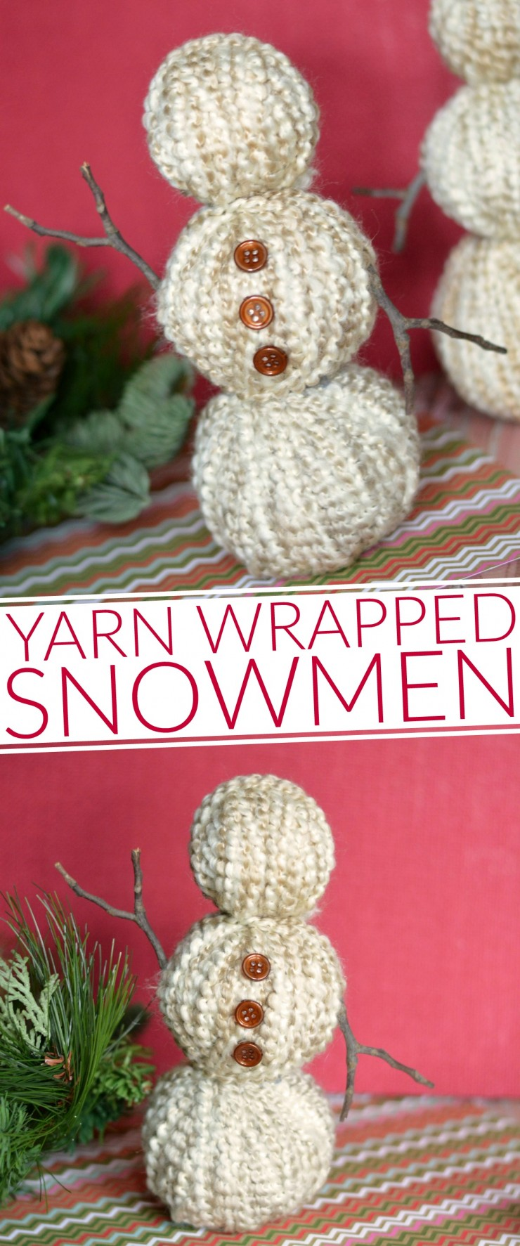 These Yarn Wrapped Snowmen are a great addition to your Christmas décor, holiday décor or winter décor and make for a super easy winter craft!