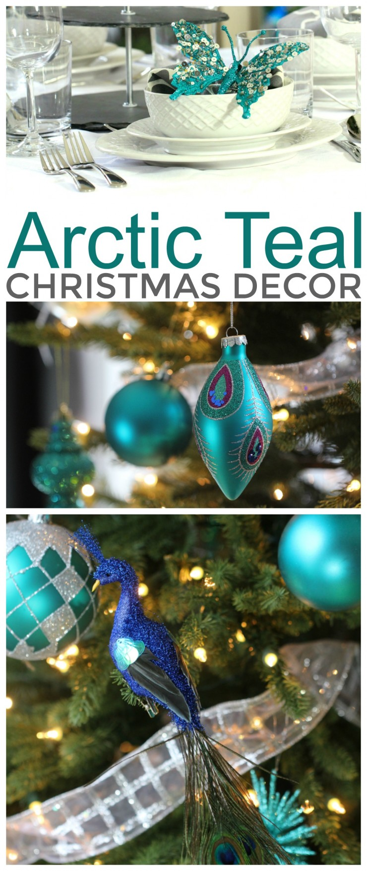 Arctic Teal Christmas Decoration Ideas - Teal Christmas Tree, Teal Christmas Tableschape and other easy Christmas Decor Ideas!