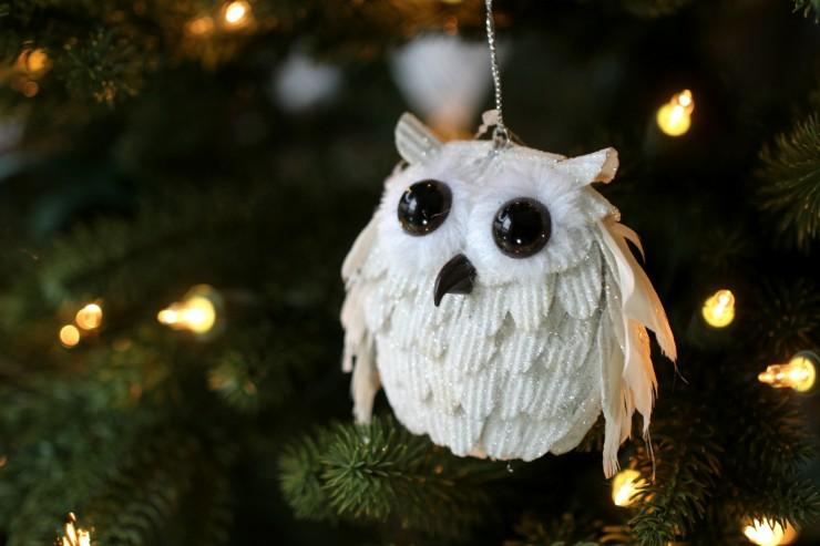 Arctic Teal Christmas Decoration Ideas - Owl Ornament