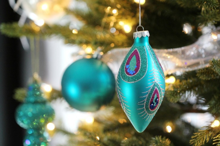 Arctic Teal Christmas Decoration Ideas - Teal Peacock Ornament