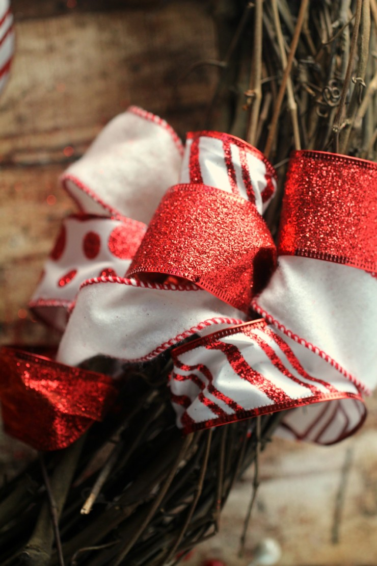 Ribbon and Ornament Christmas Wreath