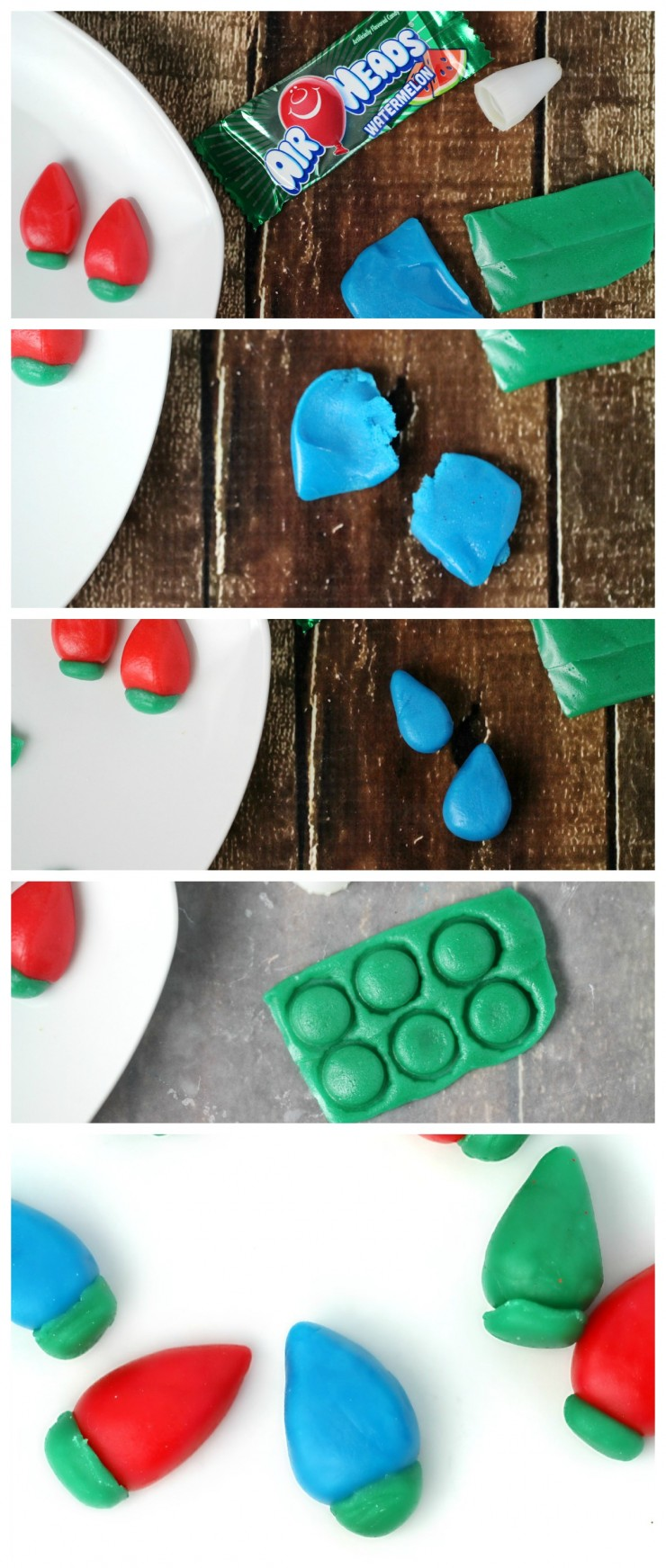 Christmas Cake Tutorial: Christmas Lights Cake - this is an easy dessert recipe that uses Airheads instead of fondant!