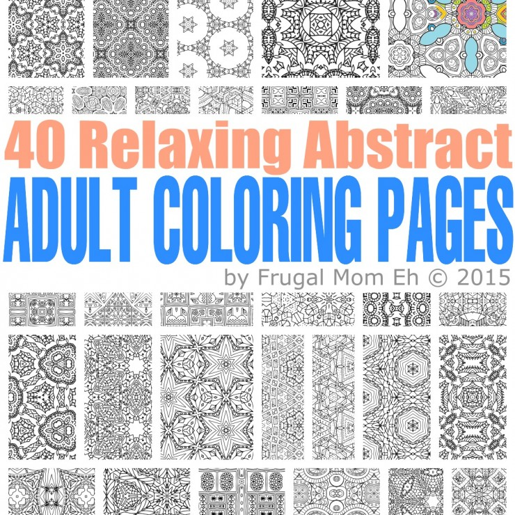 FREE Calming Abstract Adult Coloring Pages - Frugal Mom Eh!