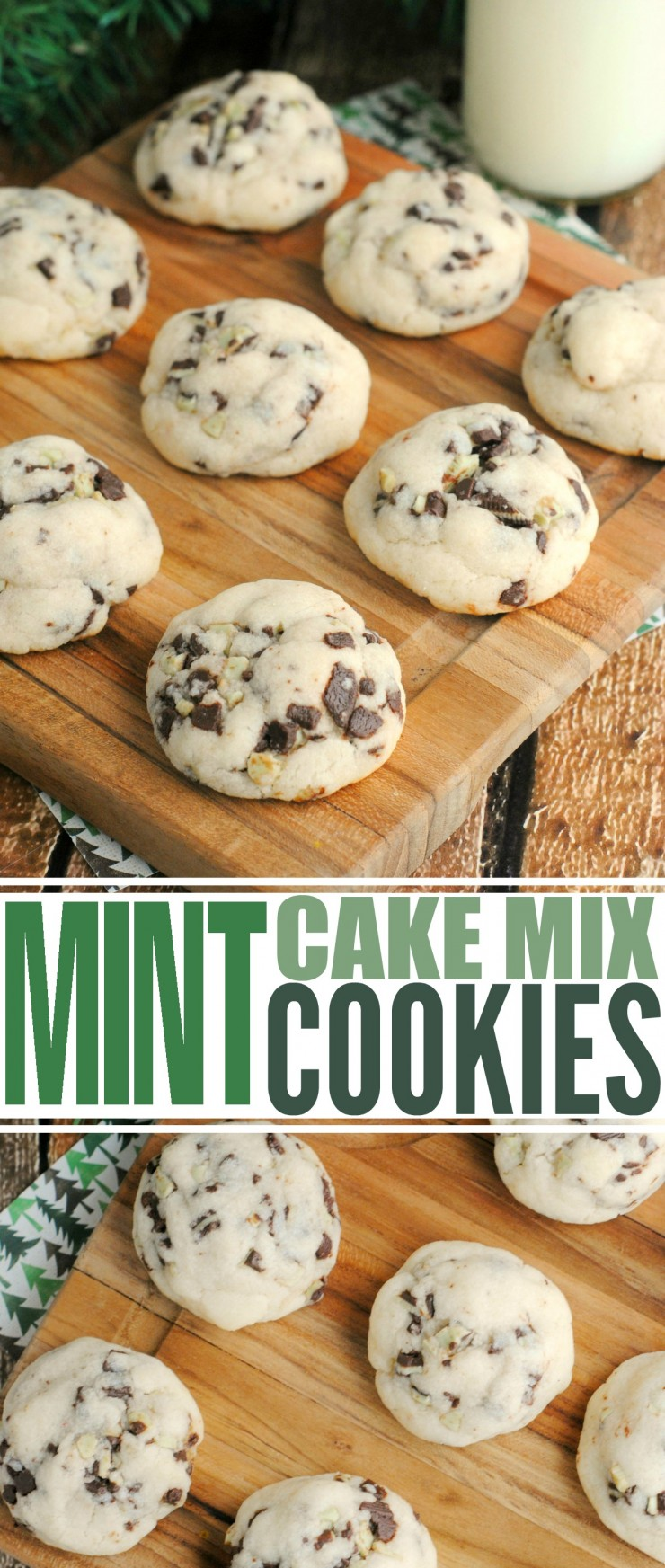 These Mint Cake Mix Cookies are an easy and delicious Christmas cookie made with cake mix and Andes mint baking bits.