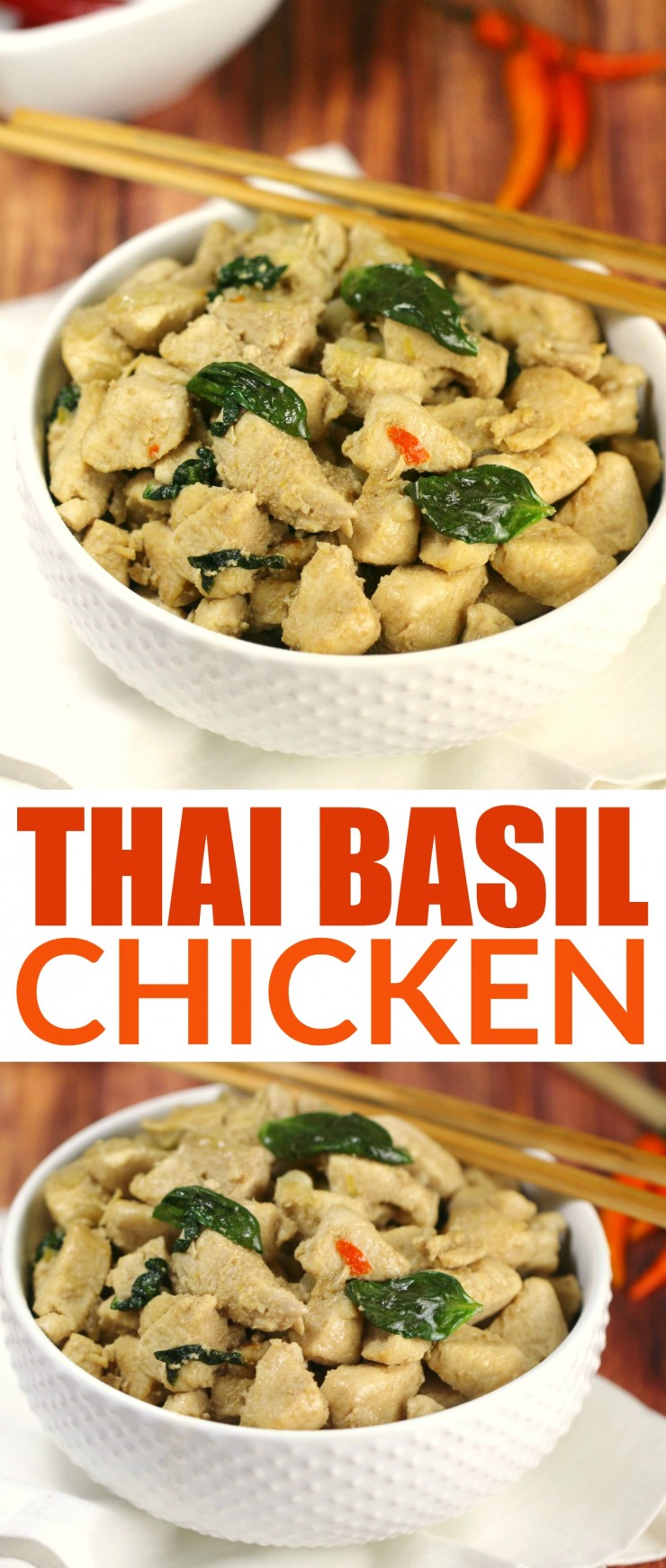 This Thai Basil Chicken recipe is a healthy makeover of a take-out favourite, it's even a great #21DayFix recipe but still full of flavour.